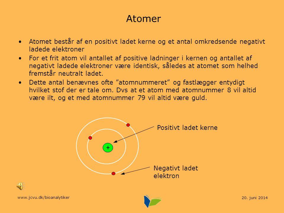 Atomer Atomet består af en positivt ladet kerne og et antal omkredsende negativt ladede elektroner.