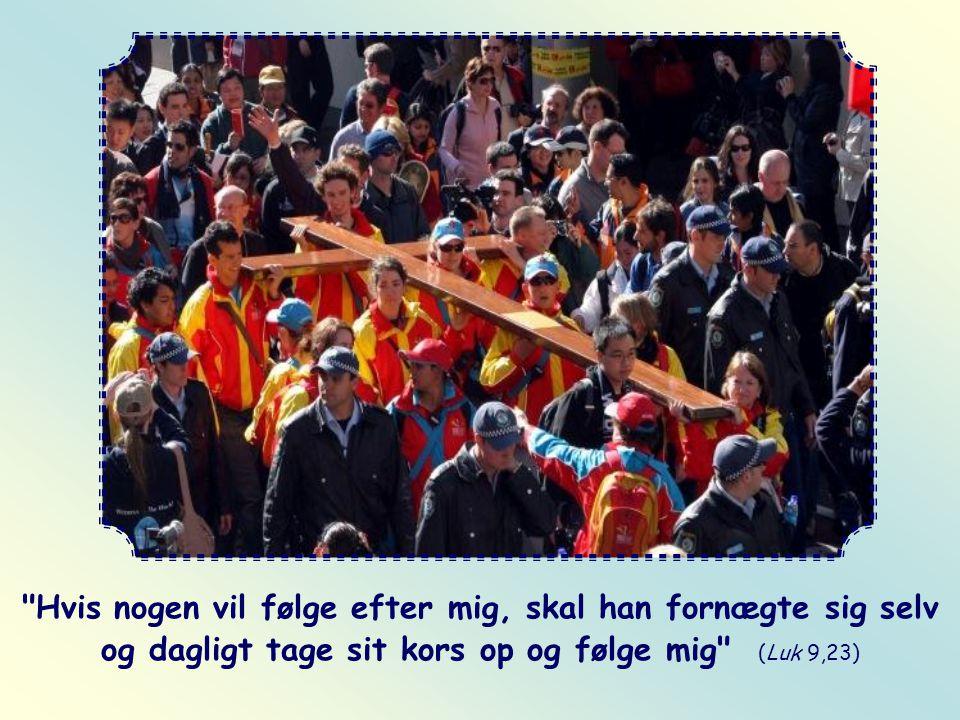 Hvis nogen vil følge efter mig, skal han fornægte sig selv og dagligt tage sit kors op og følge mig (Luk 9,23)