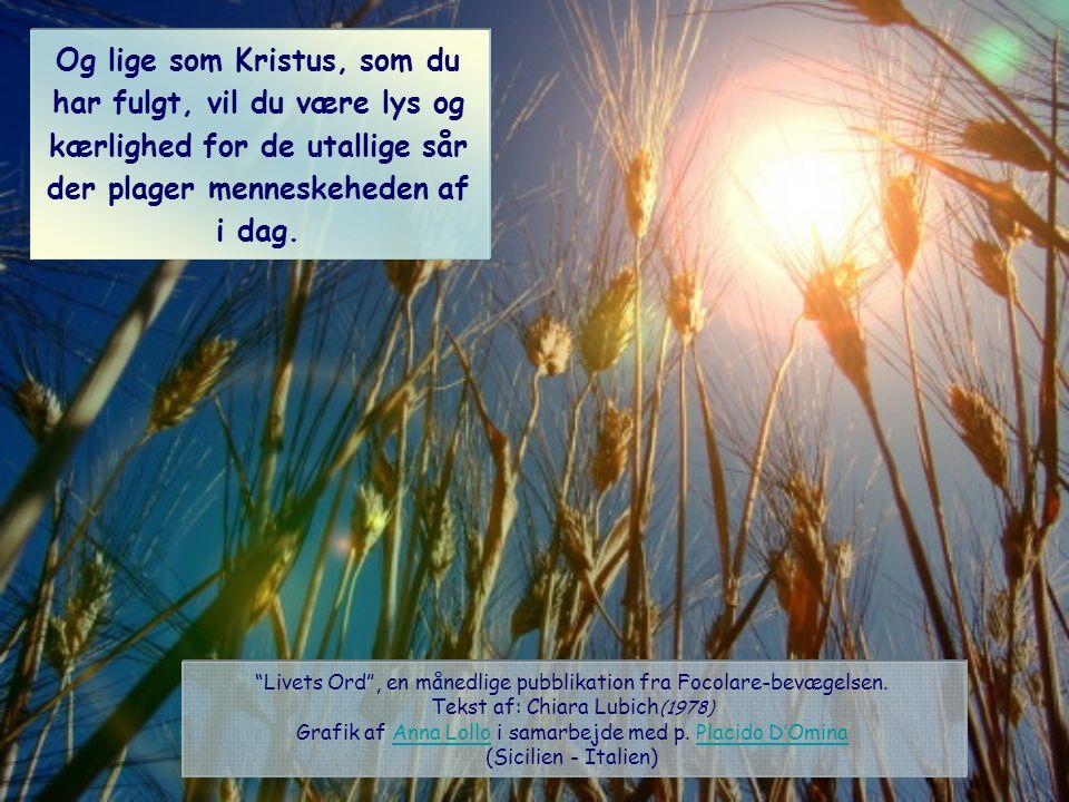 Og lige som Kristus, som du har fulgt, vil du være lys og kærlighed for de utallige sår der plager menneskeheden af i dag.