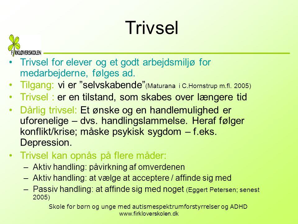 Trivsel Trivsel for elever og et godt arbejdsmiljø for medarbejderne, følges ad. Tilgang: vi er selvskabende (Maturana i C.Hornstrup m.fl. 2005)