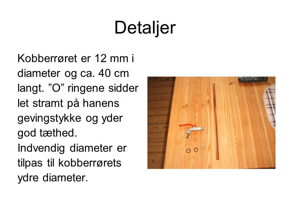 Detaljer Kobberrøret er 12 mm i diameter og ca. 40 cm