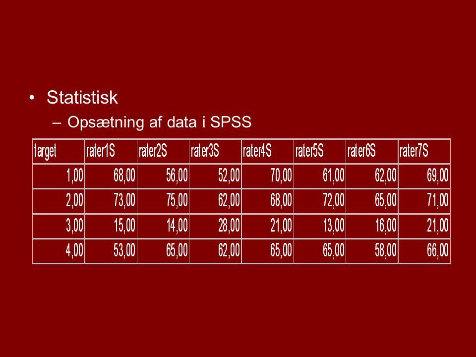 Statistisk Opsætning af data i SPSS