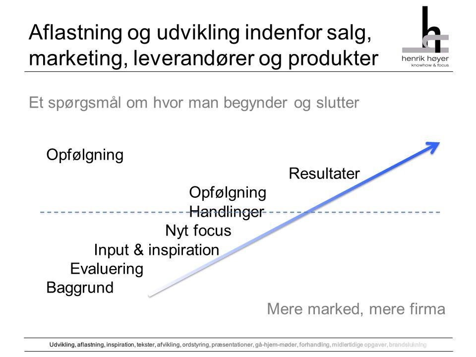 Aflastning og udvikling indenfor salg, marketing, leverandører og produkter