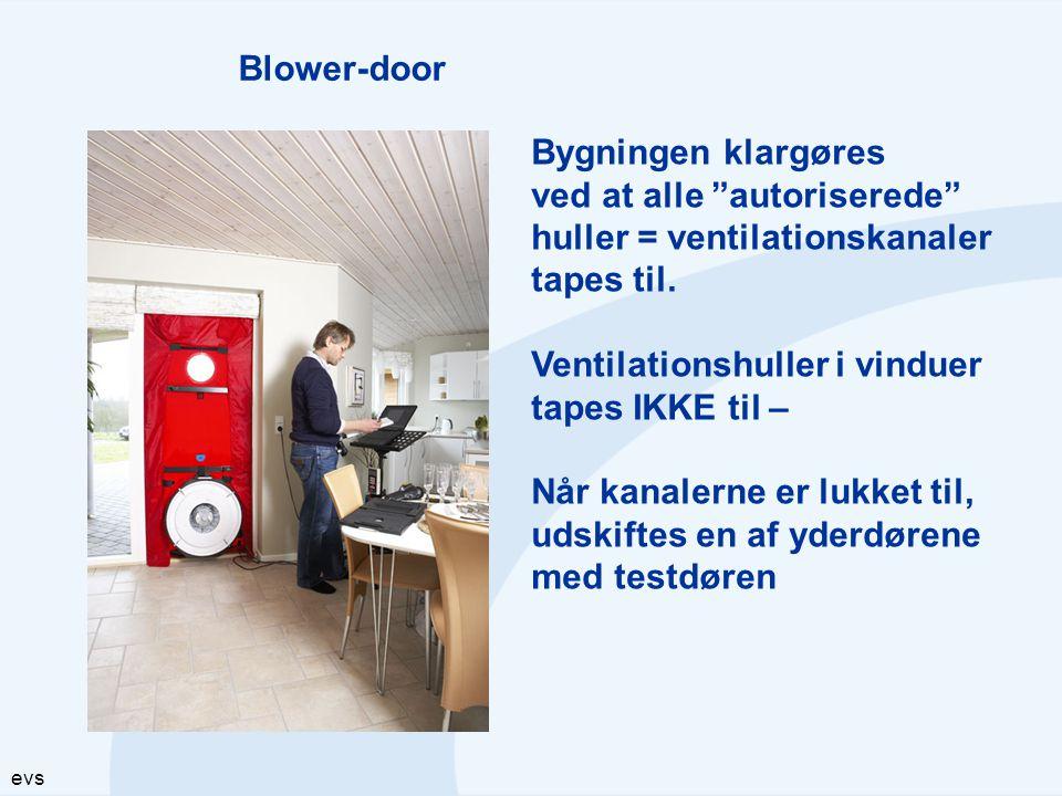 Blower-door Bygningen klargøres. ved at alle autoriserede huller = ventilationskanaler. tapes til.