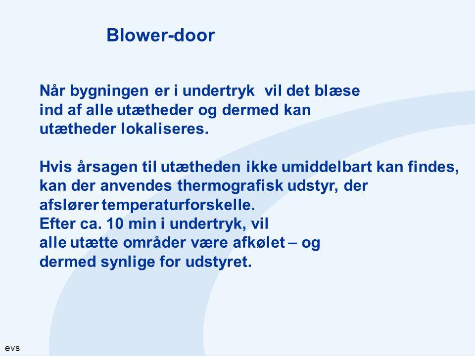 Blower-door Når bygningen er i undertryk vil det blæse. ind af alle utætheder og dermed kan. utætheder lokaliseres.