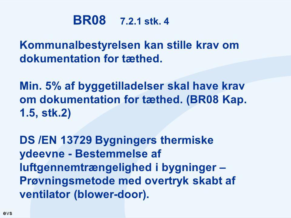 BR08 7.2.1 stk. 4 Kommunalbestyrelsen kan stille krav om dokumentation for tæthed.