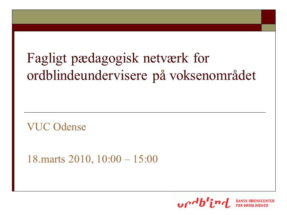 Fagligt pædagogisk netværk for ordblindeundervisere på voksenområdet