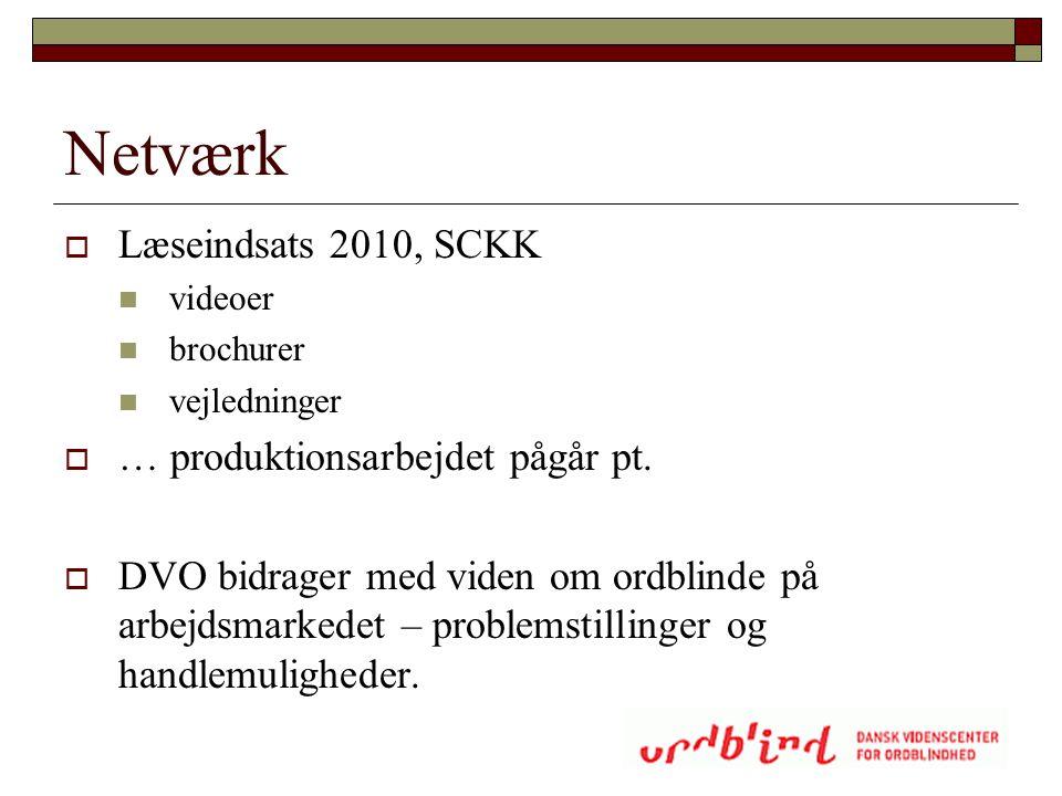 Netværk Læseindsats 2010, SCKK … produktionsarbejdet pågår pt.