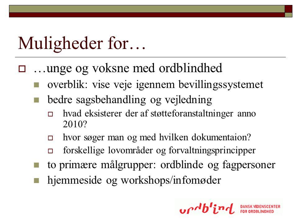 Muligheder for… …unge og voksne med ordblindhed