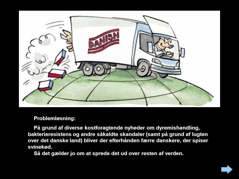Problemløsning: På grund af diverse kostforagtende nyheder om dyremishandling, bakterieresistens og andre såkaldte skandaler (samt på grund af lugten over det danske land) bliver der efterhånden færre danskere, der spiser svinekød.