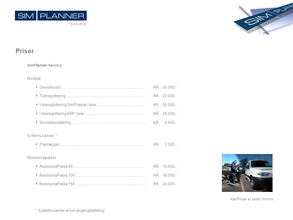 Priser SimPlanner Service Moduler