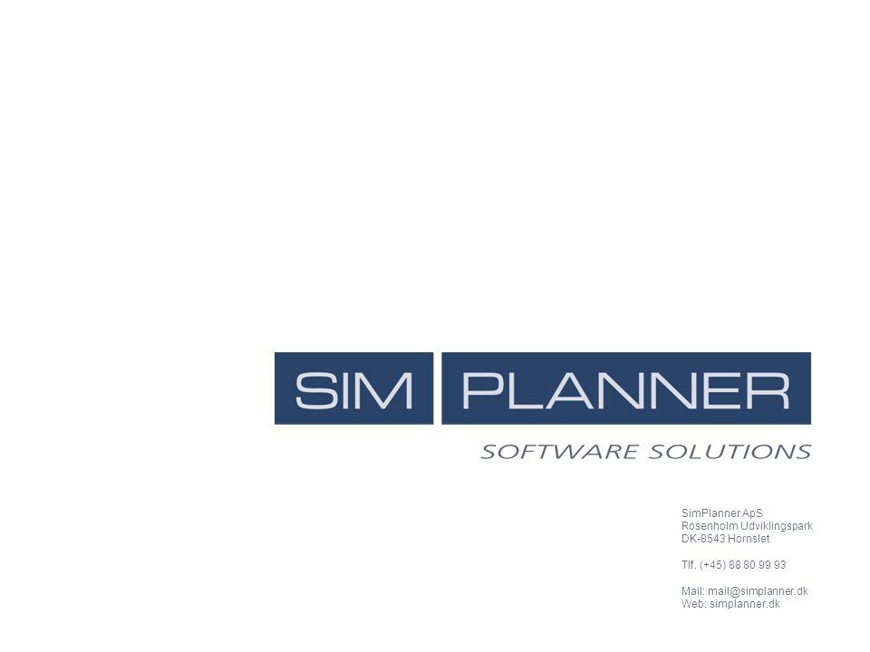 SimPlanner ApS Rosenholm Udviklingspark. DK-8543 Hornslet. Tlf. (+45) 88 80 99 93. Mail: mail@simplanner.dk.