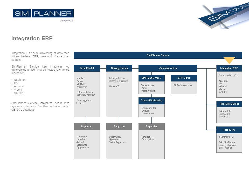 Integration ERP Integration ERP er til udveksling af data med virksomhedens ERP, økonomi- /regnskabs-system.