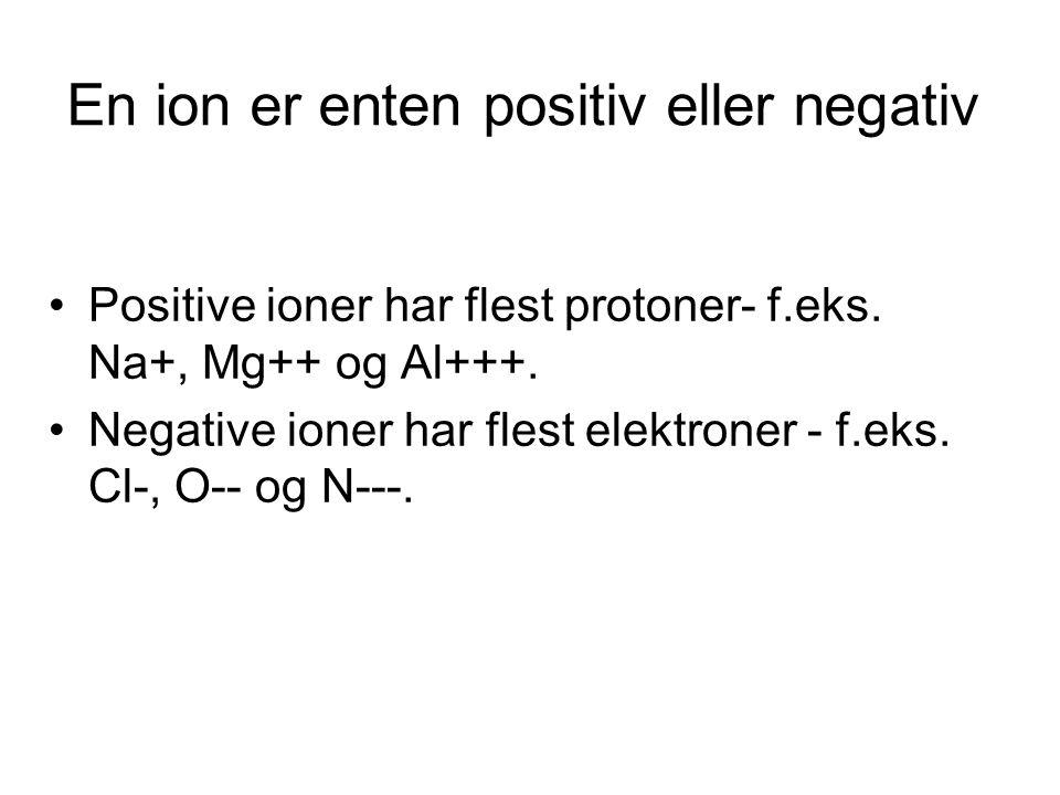 En ion er enten positiv eller negativ