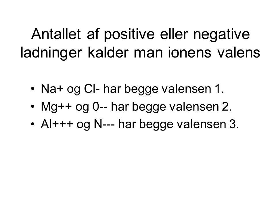 Antallet af positive eller negative ladninger kalder man ionens valens
