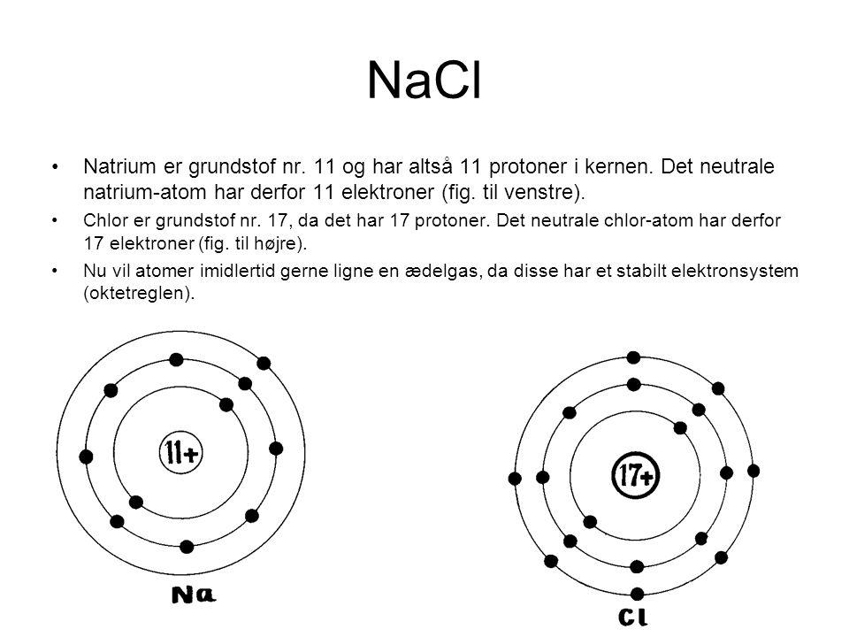 NaCl Natrium er grundstof nr. 11 og har altså 11 protoner i kernen. Det neutrale natrium-atom har derfor 11 elektroner (fig. til venstre).