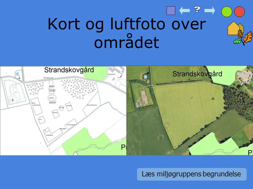 Kort og luftfoto over området