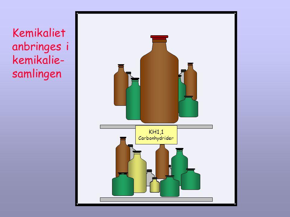 Kemikaliet anbringes i kemikalie- samlingen