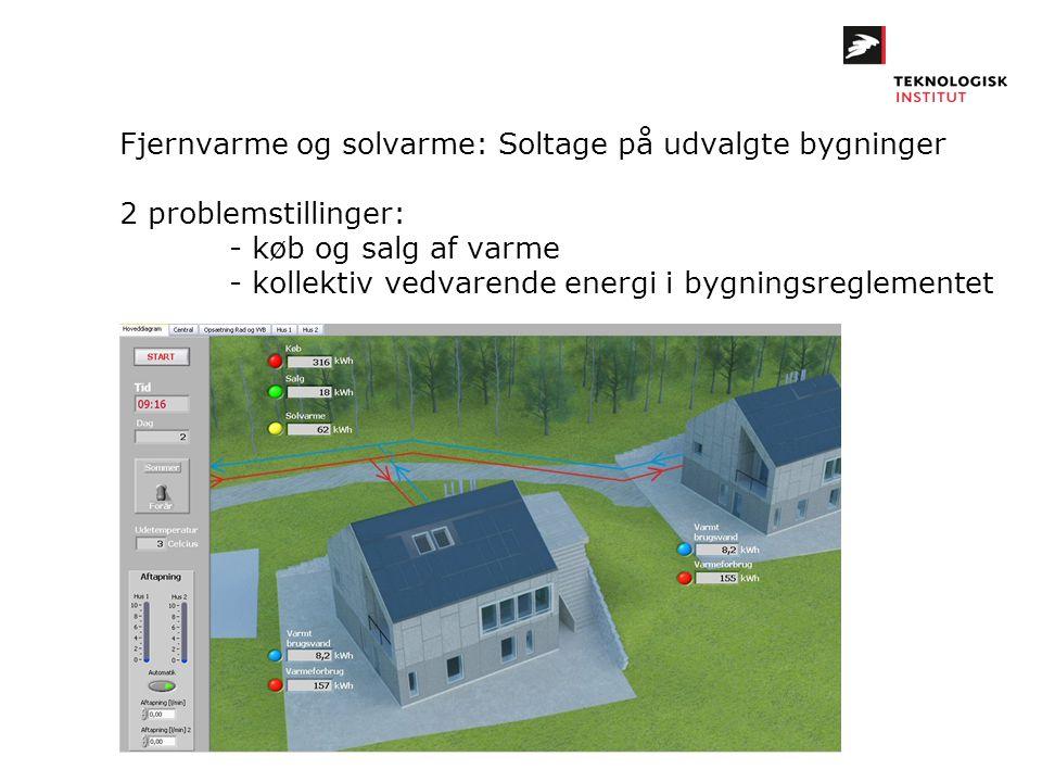 Fjernvarme og solvarme: Soltage på udvalgte bygninger 2 problemstillinger: - køb og salg af varme - kollektiv vedvarende energi i bygningsreglementet
