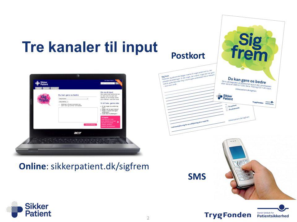 Tre kanaler til input Postkort Online: sikkerpatient.dk/sigfrem SMS
