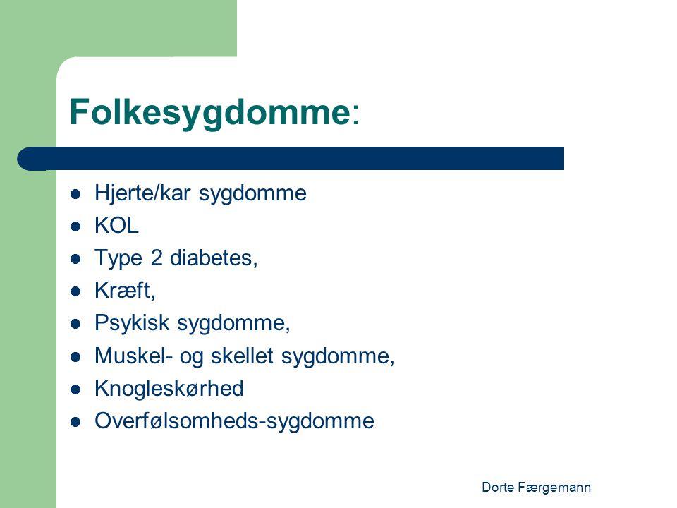 Folkesygdomme: Hjerte/kar sygdomme KOL Type 2 diabetes, Kræft,