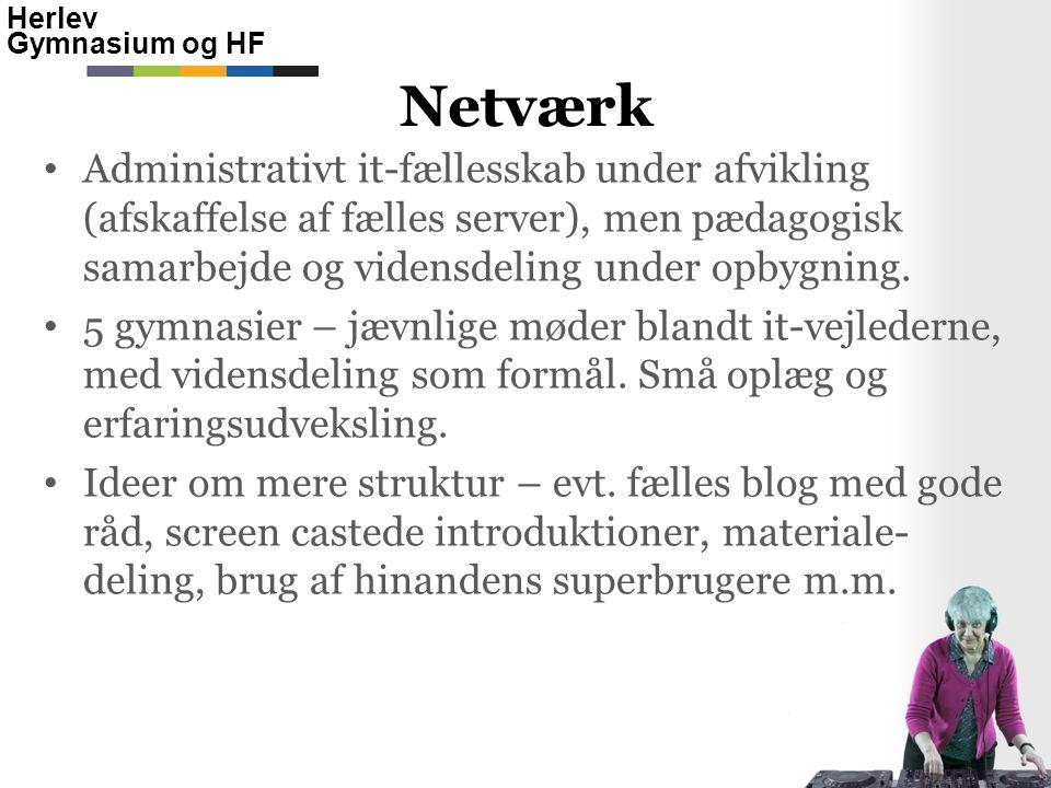 Netværk Administrativt it-fællesskab under afvikling (afskaffelse af fælles server), men pædagogisk samarbejde og vidensdeling under opbygning.