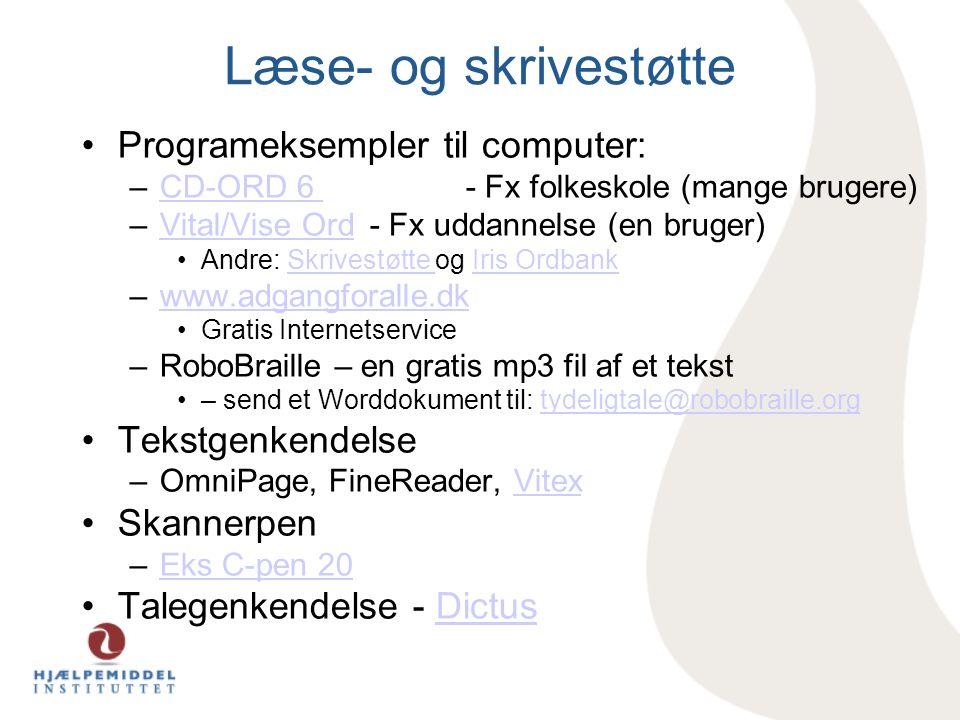 Læse- og skrivestøtte Programeksempler til computer: Tekstgenkendelse