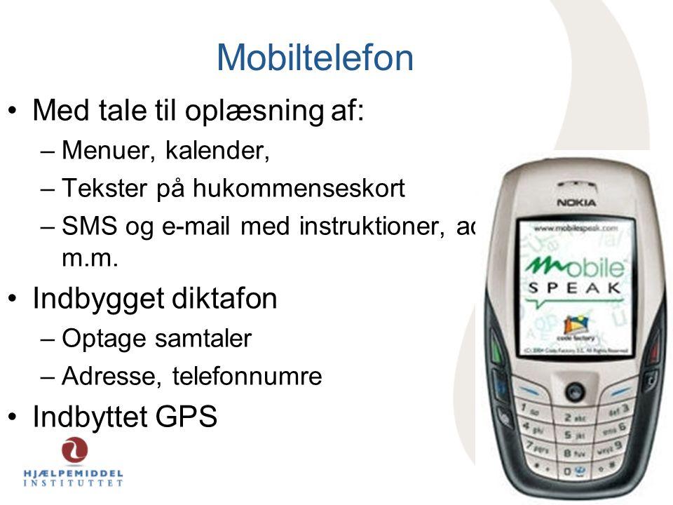 Mobiltelefon Med tale til oplæsning af: Indbygget diktafon
