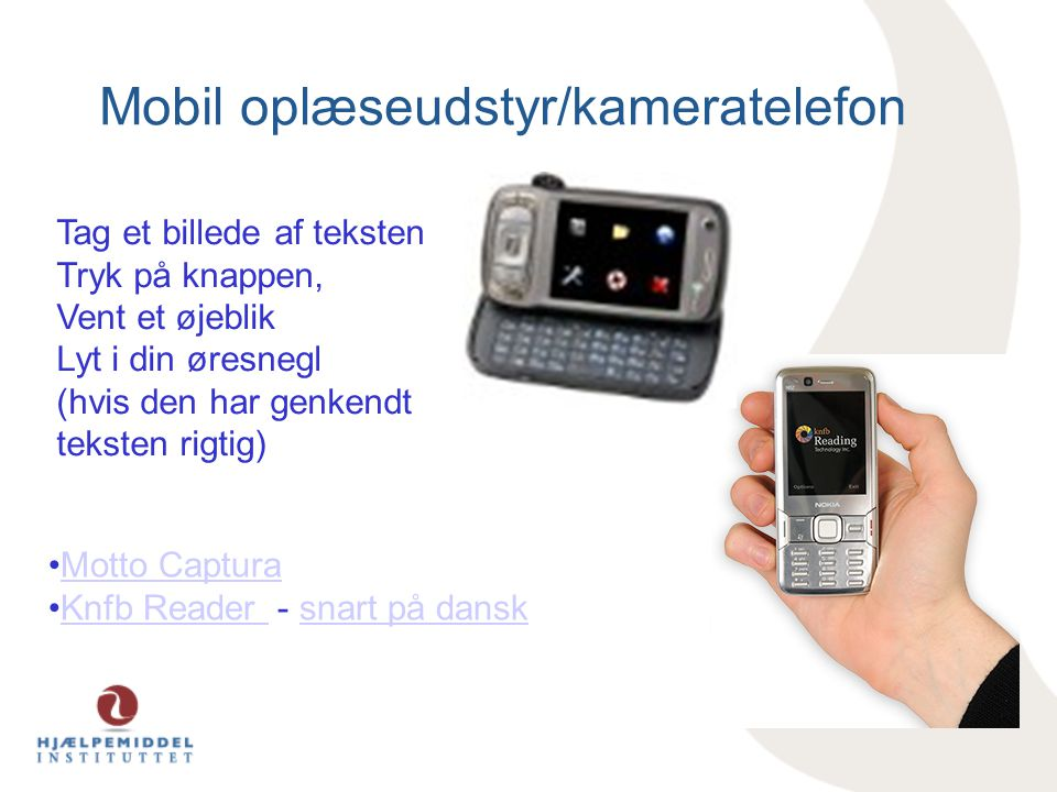 Mobil oplæseudstyr/kameratelefon