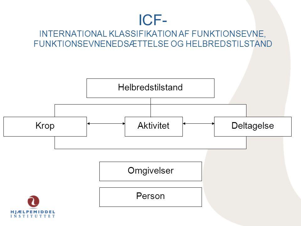 ICF- INTERNATIONAL KLASSIFIKATION AF FUNKTIONSEVNE, FUNKTIONSEVNENEDSÆTTELSE OG HELBREDSTILSTAND