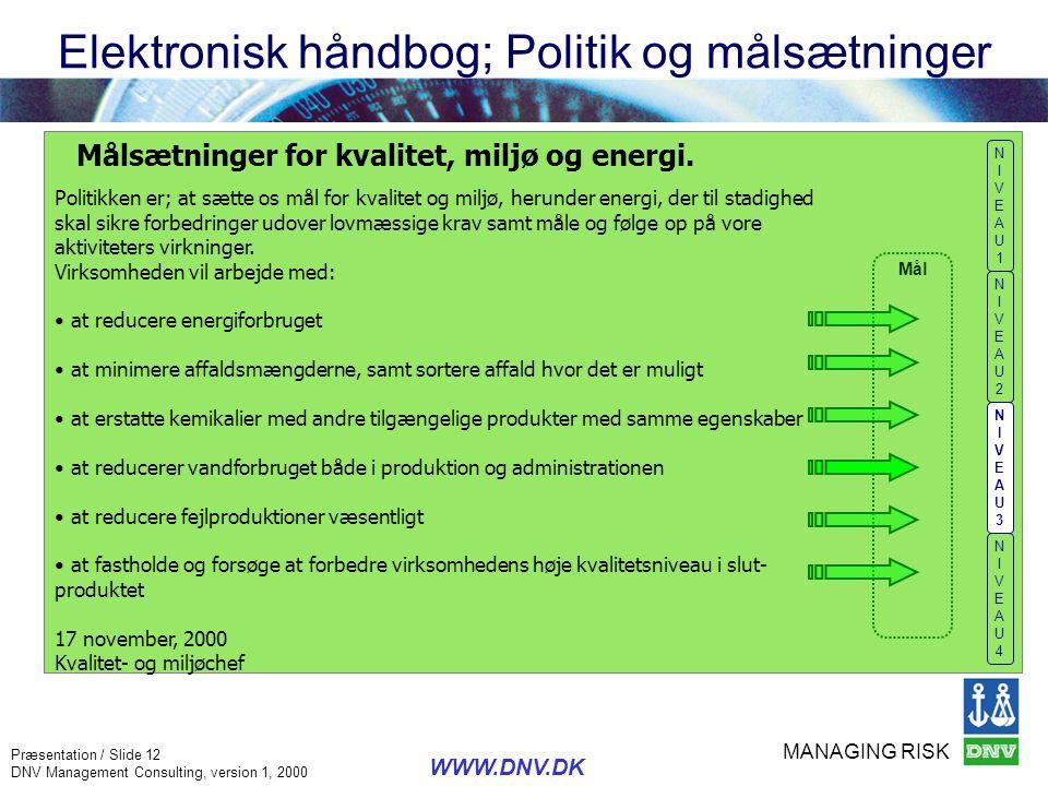 Elektronisk håndbog; Politik og målsætninger