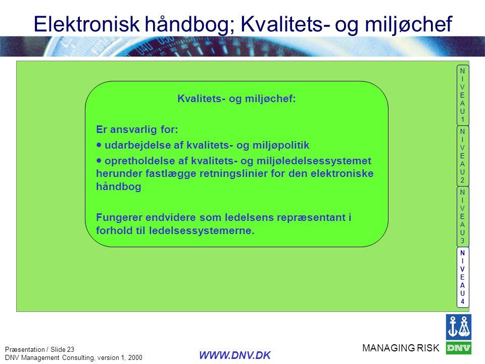 Elektronisk håndbog; Kvalitets- og miljøchef