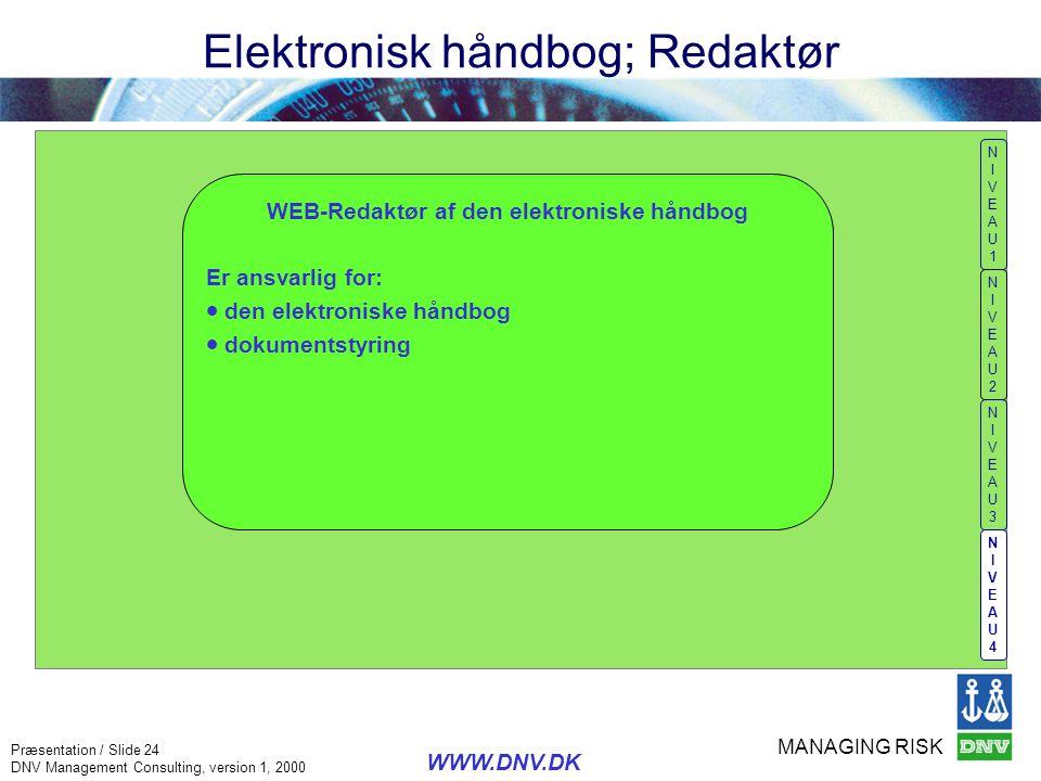 Elektronisk håndbog; Redaktør