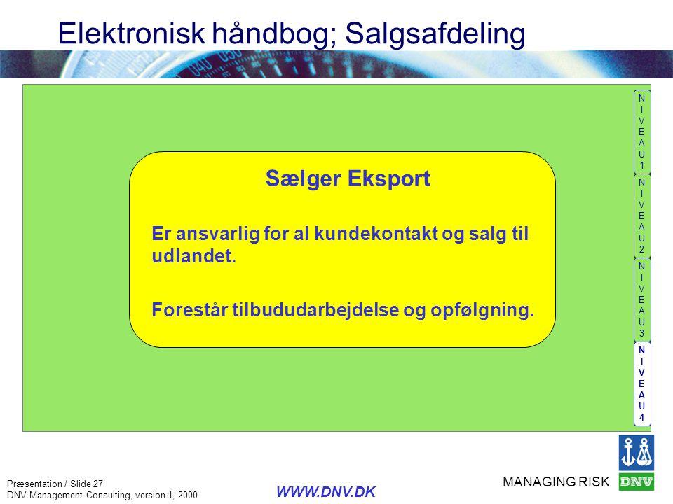 Elektronisk håndbog; Salgsafdeling