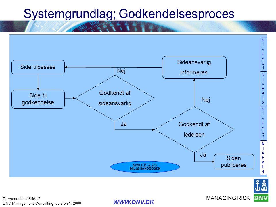 Systemgrundlag; Godkendelsesproces