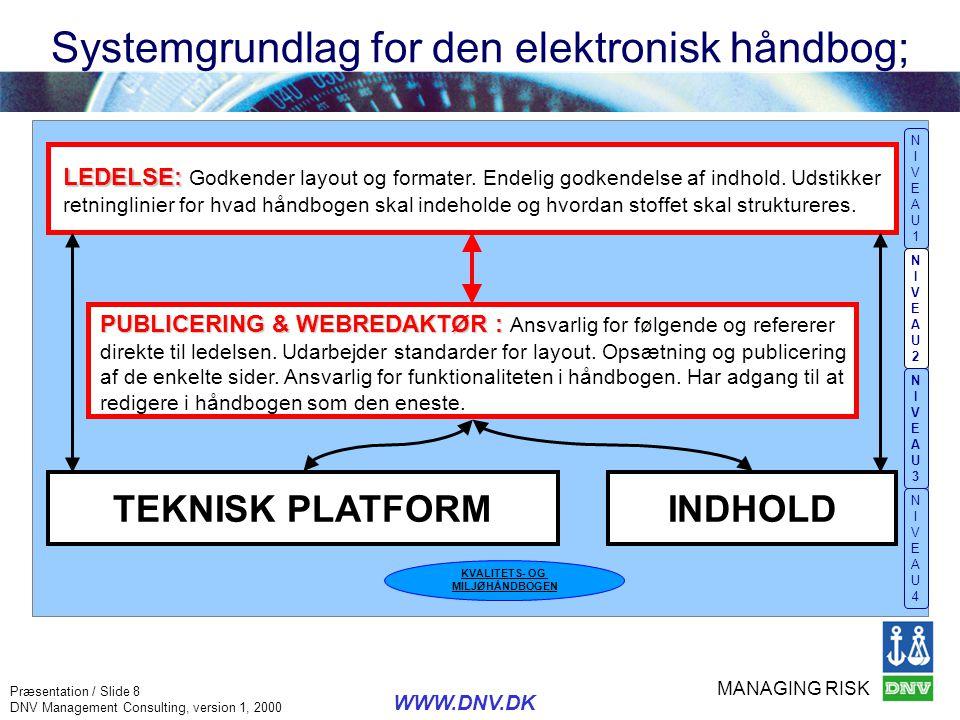 Systemgrundlag for den elektronisk håndbog;
