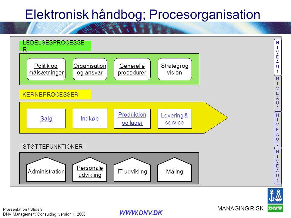 Elektronisk håndbog; Procesorganisation