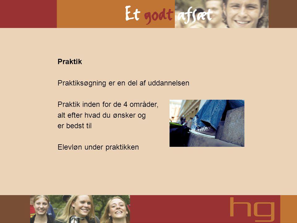 Praktik Praktiksøgning er en del af uddannelsen. Praktik inden for de 4 områder, alt efter hvad du ønsker og.