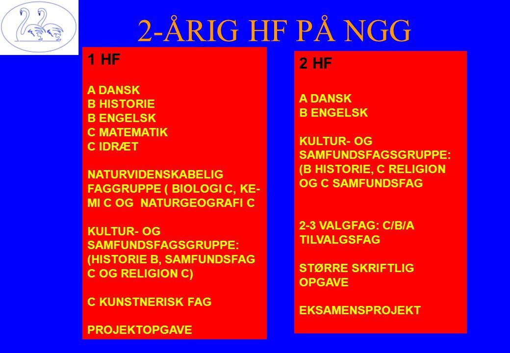 2-ÅRIG HF PÅ NGG 1 HF 2 HF A DANSK B HISTORIE A DANSK B ENGELSK