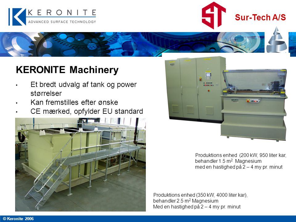 KERONITE Machinery Et bredt udvalg af tank og power størrelser