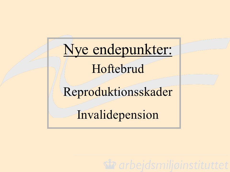 Nye endepunkter: Hoftebrud Reproduktionsskader Invalidepension