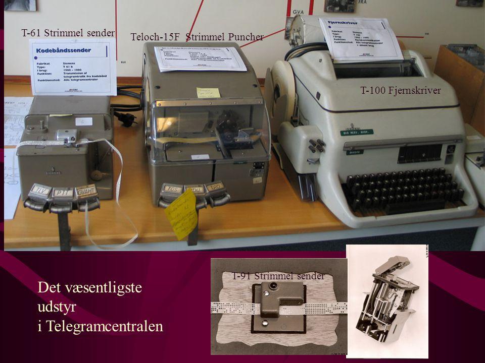 Det væsentligste udstyr i Telegramcentralen T-61 Strimmel sender