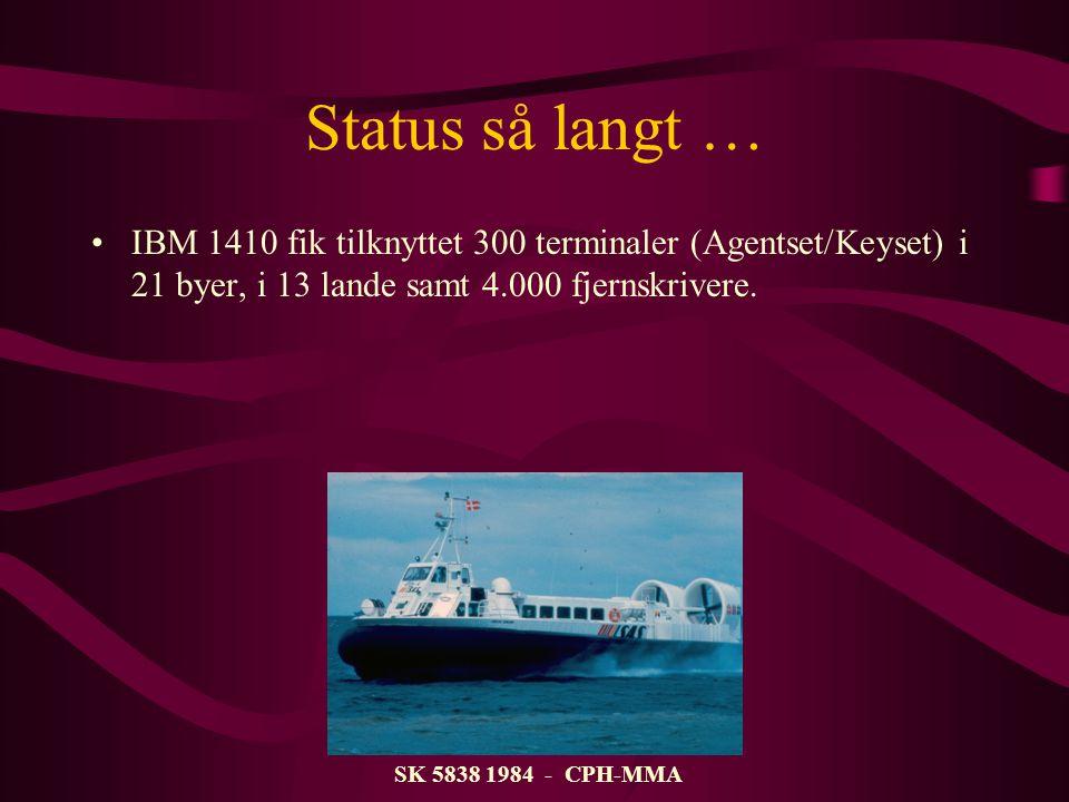 Status så langt … IBM 1410 fik tilknyttet 300 terminaler (Agentset/Keyset) i 21 byer, i 13 lande samt 4.000 fjernskrivere.