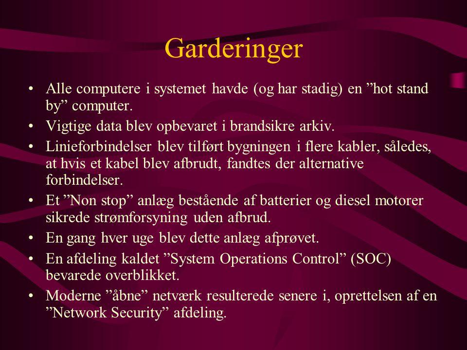 Garderinger Alle computere i systemet havde (og har stadig) en hot stand by computer. Vigtige data blev opbevaret i brandsikre arkiv.