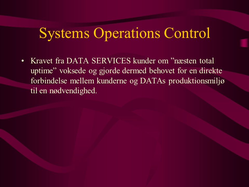 Systems Operations Control