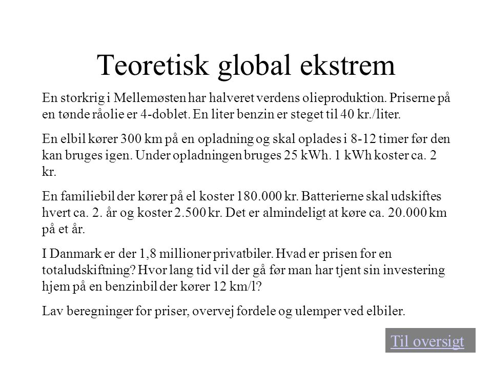 Teoretisk global ekstrem