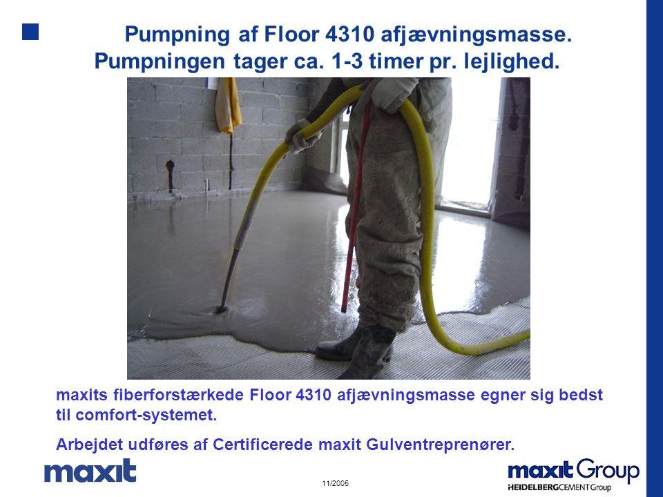Pumpning af Floor 4310 afjævningsmasse. Pumpningen tager ca