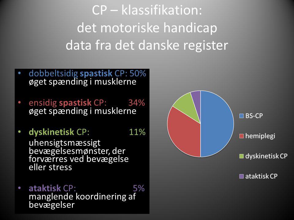 CP – klassifikation: det motoriske handicap data fra det danske register