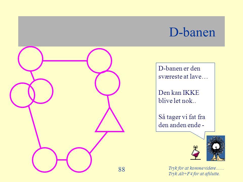 D-banen D-banen er den sværeste at lave… Den kan IKKE blive let nok..