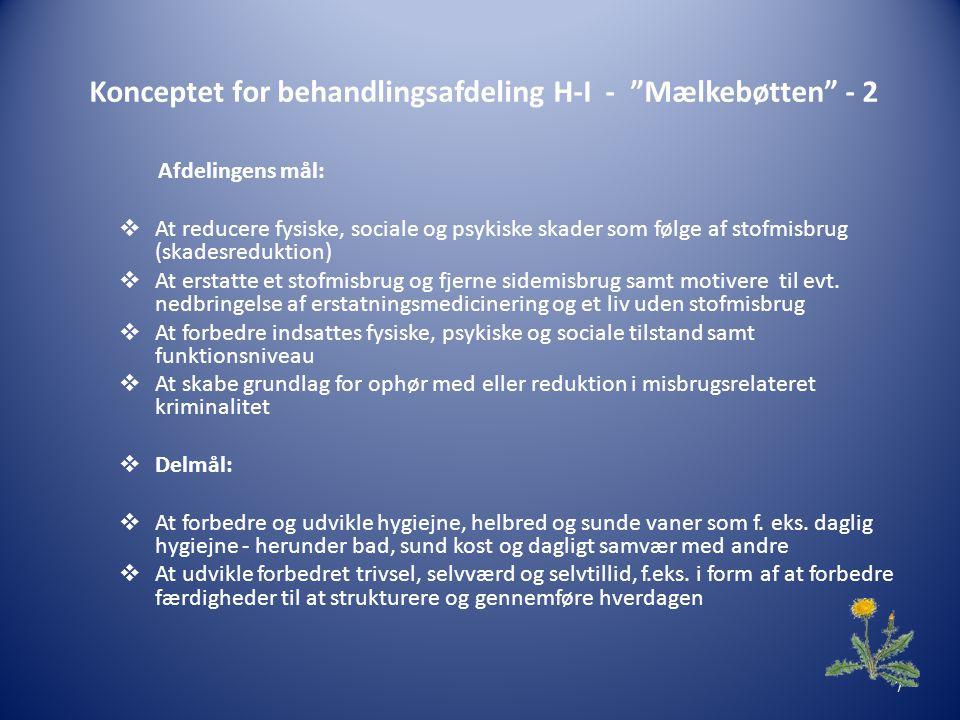 Konceptet for behandlingsafdeling H-I - Mælkebøtten - 2